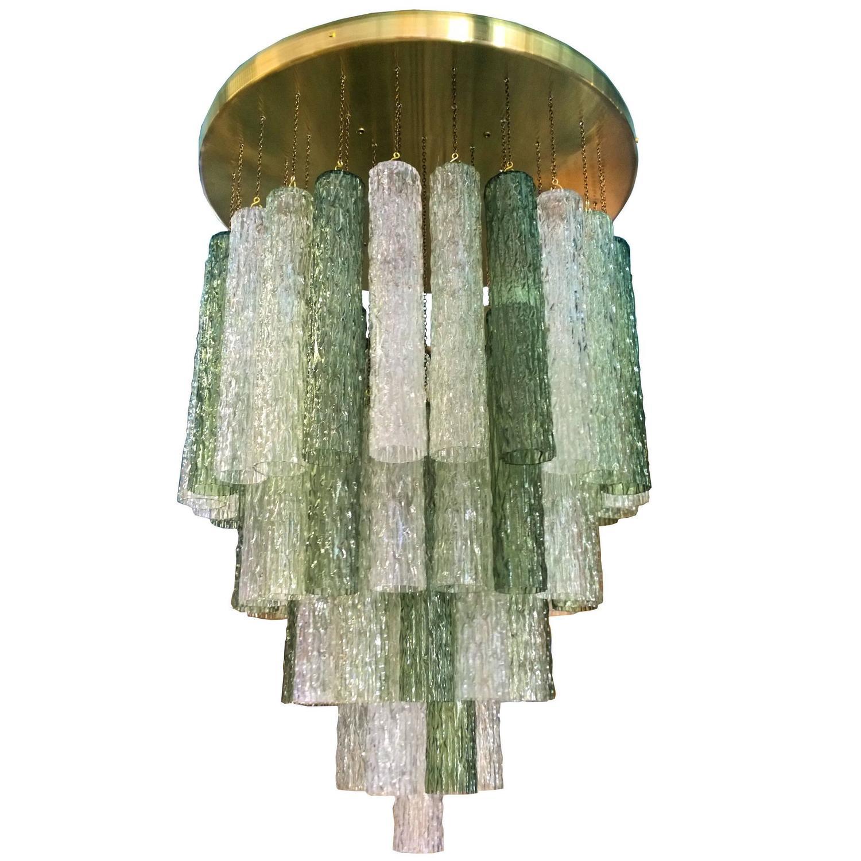 Toni Zuccheri For Venini Murano Green Tubes Flush Mount