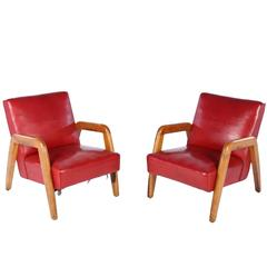Lounge Leather Chairs by Russel Wright for Thonet