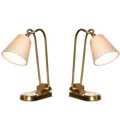 Prince de Galles Hotel Paris, Pair of Adjustable Bronze Lamps, circa 1930