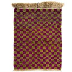 "Checkered Vintage ""Tulu"" Rug, Doormat"