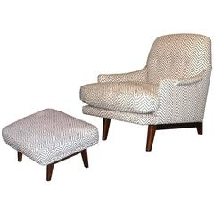Classic Modern Lounge Chair and Ottoman by Dunbar
