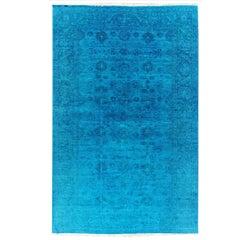 Late 21st Century Blue Overdyed Distressed Iranian Carpet, 11.11x18.8