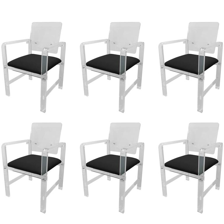 Set of Six Modern Lucite Armchairs by Cain Modern For Sale