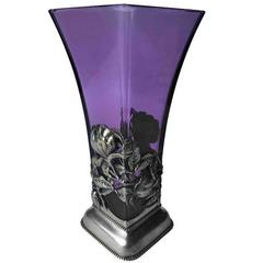 Lovely Purple Glass Vase with Sterling Frame, circa 1900