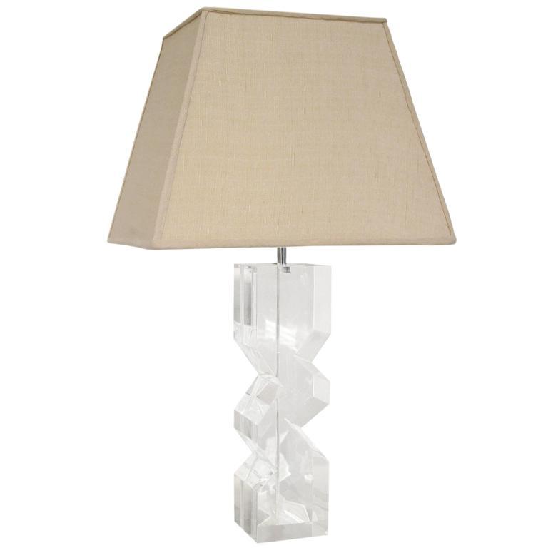 Sculptural Table Lamp in Solid Lucite by Les Prismatiques