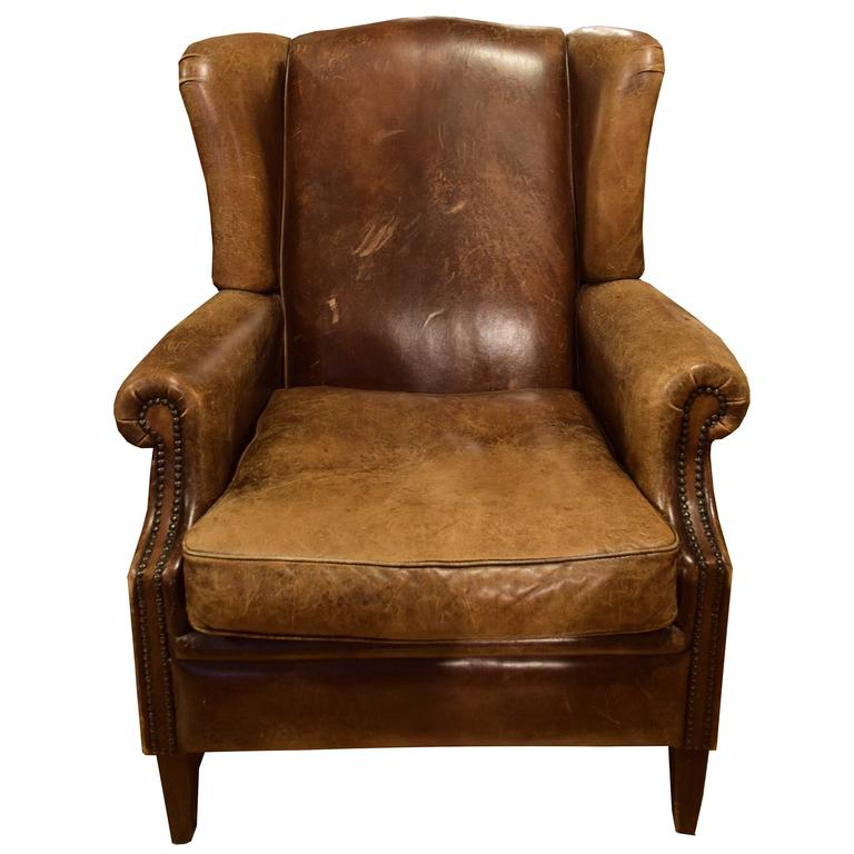 Leather Wingback Chair from Italy For Sale at 1stdibs