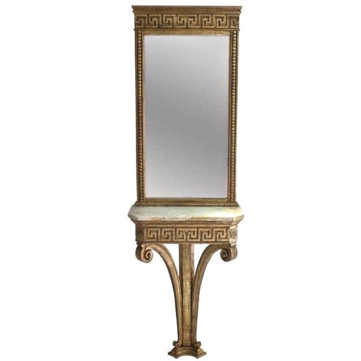 Italian giltwood greek key wall mounted console table and for Wall table with mirror