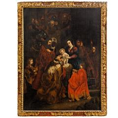 "17th Century Large Painting, Oil on Canvas ""Adoration Of The Magi"" After Rubens"