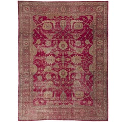Vintage Hand-knotted Turkish Oushak Rug in Magenta With Classical Floral Design