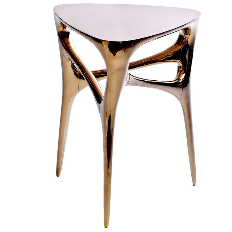 Contemporary Methodology Side Table in Cast and Polished Bronze