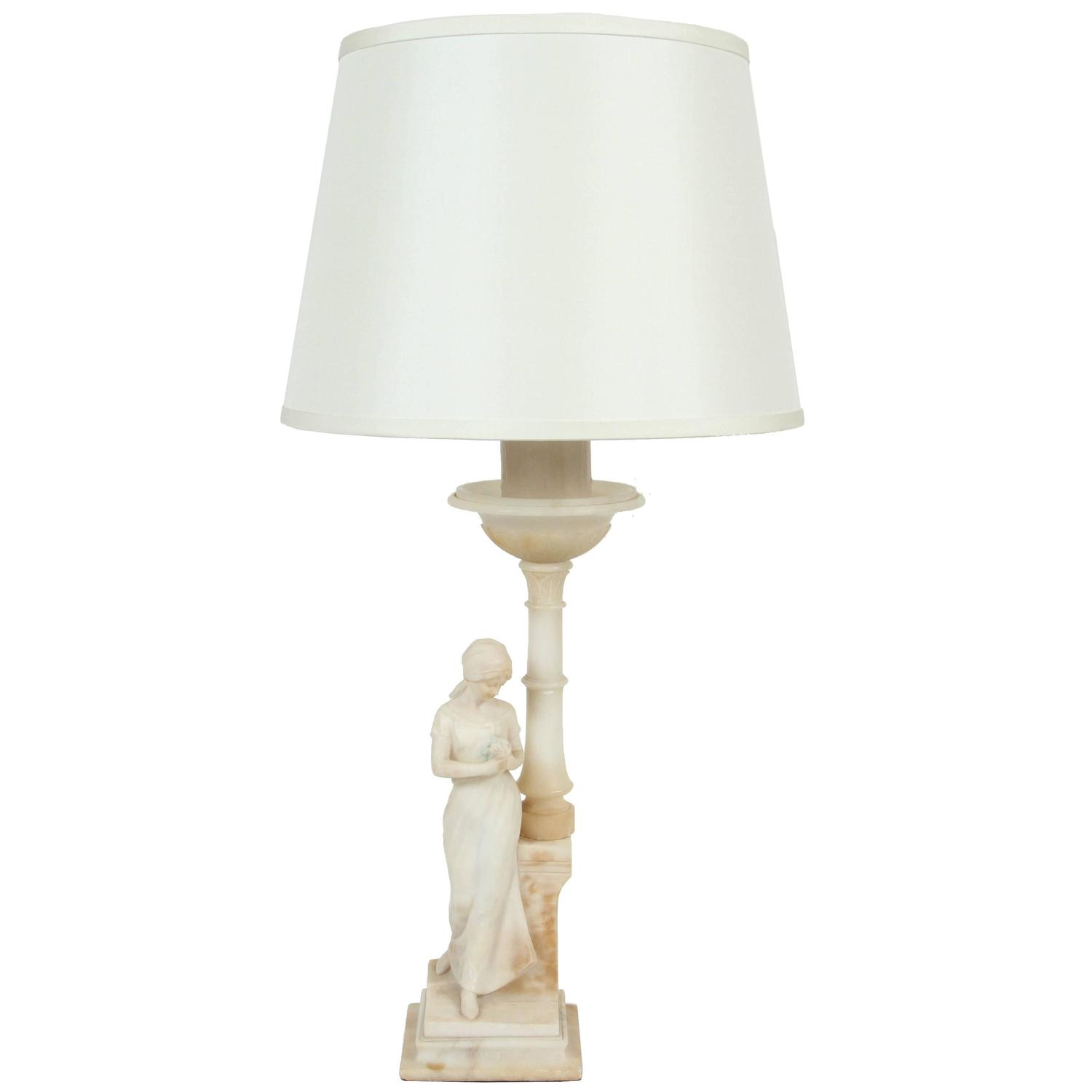 Vintage Marble Lady Figure Lamp At 1stdibs