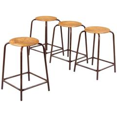 Set of Four French Vintage Wood and Metal Industrial Stools, 1950s