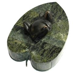 Elegant Tessellated Marble and Bronze Frog Jewelry Box