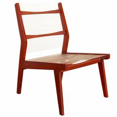 """The Concealed Bedroom"" Easy Chair with Teak Frame and Angled Back"
