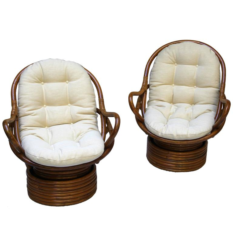 Pair Of Swivel Bamboo Rattan Lounge Chairs Sun Products, Circa 1965,  Californian For Sale