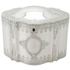 1870s Antique Victorian Sterling Silver Locking Tea Caddy