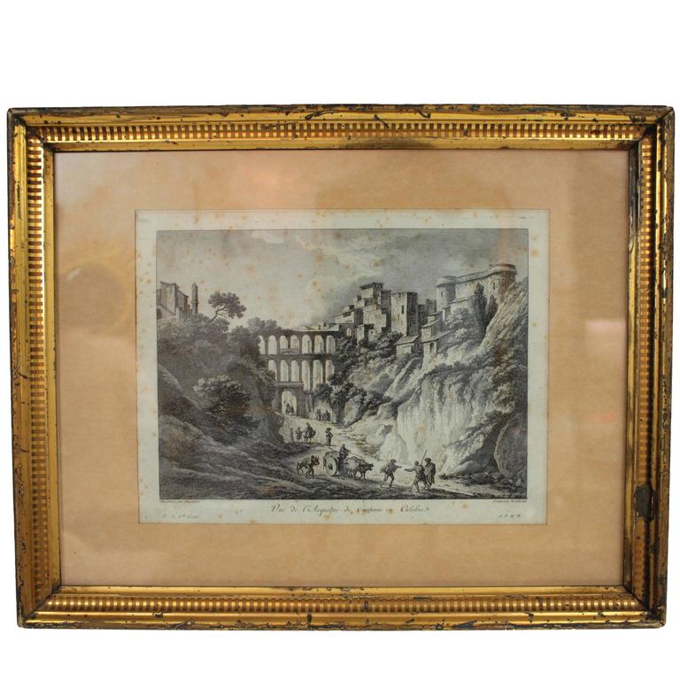 19th Century Gold Leaf Frame With Italian Views French Engraving For