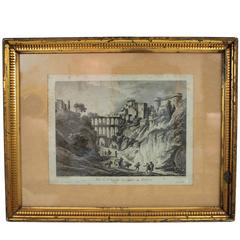 19th Century Gold Leaf Frame with Italian Views French Engraving