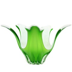 Handblown Murano Vase / Centerpiece, Mint Green and White Glass