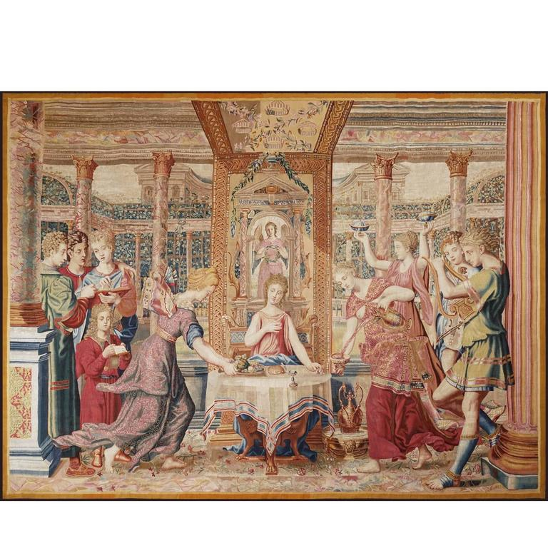 Rare Ancient Tapestry, Psyche's Meal in the Palace of Cupid, circa 1660 1