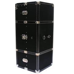 Prada Black Canvas Wardrobe Trunk with Palladium Hardware Made in 2005