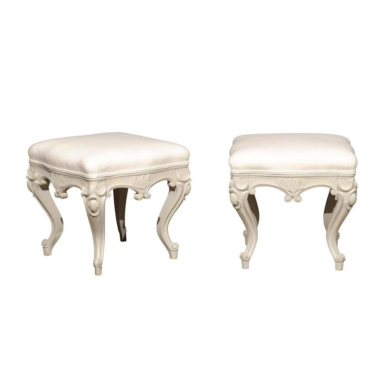 Pair of Swedish Rococo Style Carved Painted Upholstered Stools, circa 1890