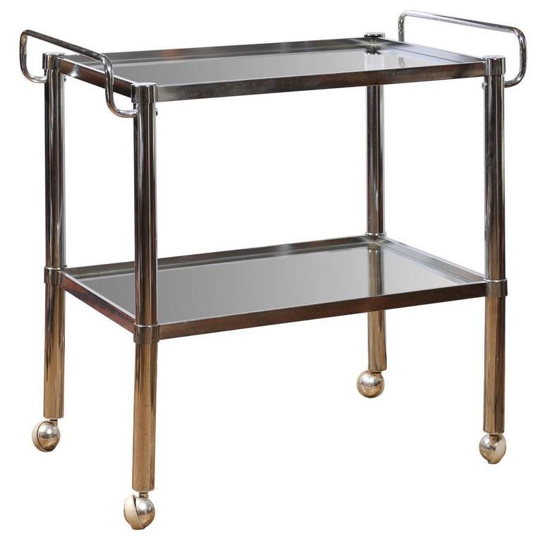 Chrome Two Tier Bar Cart