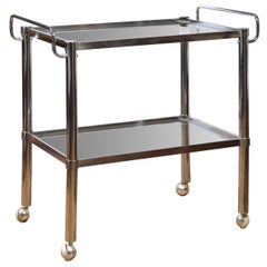 Midcentury Chrome Two Tier Bar Cart