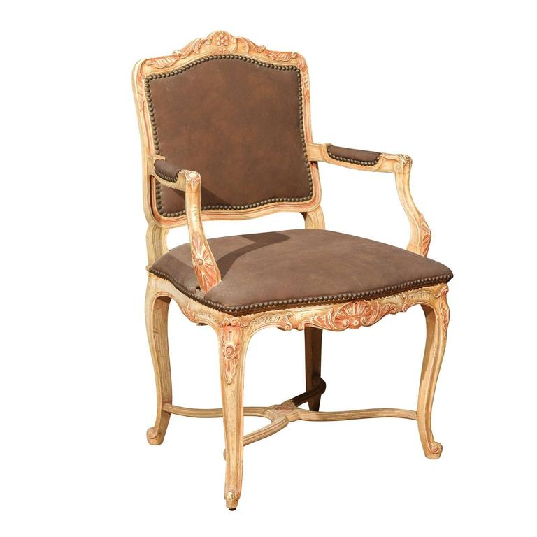 Louis xv style painted fauteuil for sale at 1stdibs - Fauteuil style louis xv ...