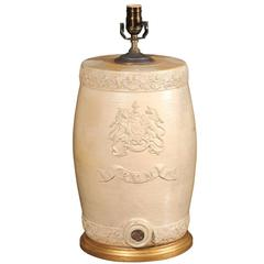 English Stoneware Spirit Barrel Table Lamp from the Mid-19th Century