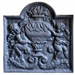 Cast Iron Fireback Representing an Allegory of Winter, 19th Century