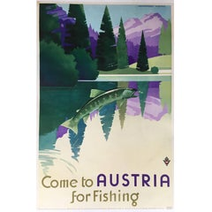 Great Vintage Poster Promoting Fishing in Austria