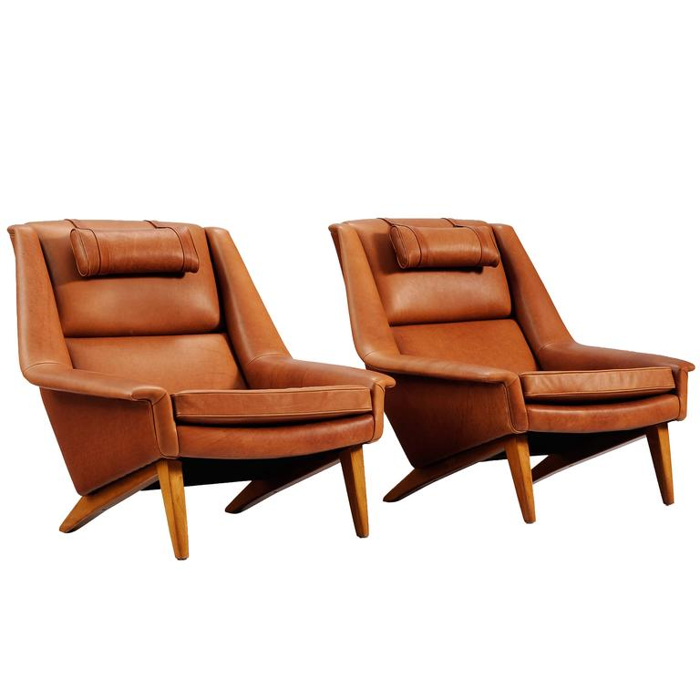 Pair of reupholstered lounge chairs in cognac leather for for Reupholstered chairs for sale