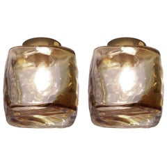 Murano Glass and Brass Cube Flush Mount or Wall Lights or Sconces by TZ