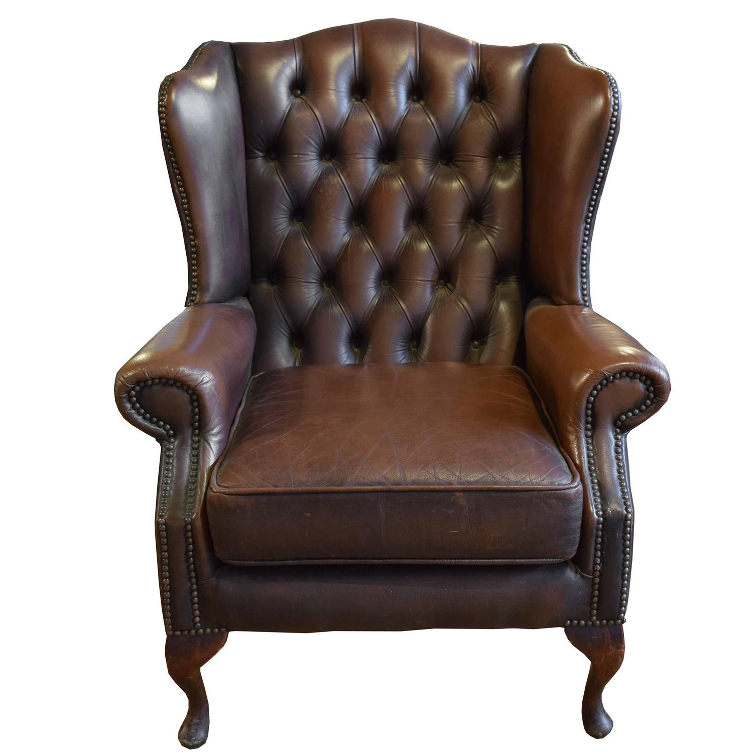 Tufted Leather Sofa And Chair: Tufted Leather Wing Chair For Sale At 1stdibs