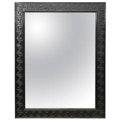 In the Manner of Karl Springer Black Lacquered Greek Key Mirror