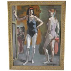 Impresstionists Oil on Board Painting of Ballerinas by Adam Grant