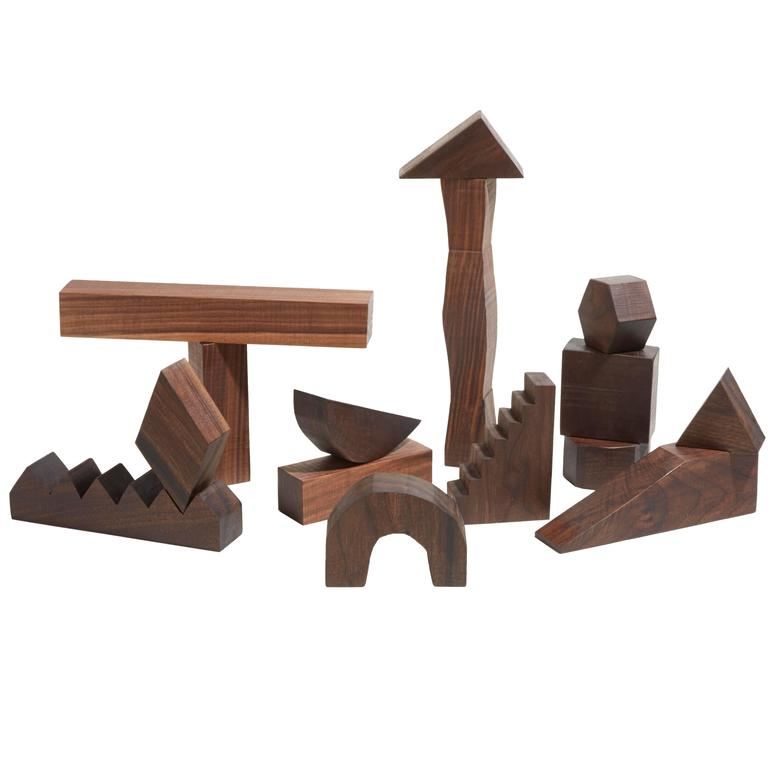 Sculptural Walnut Building Blocks by Fort Makers For Sale