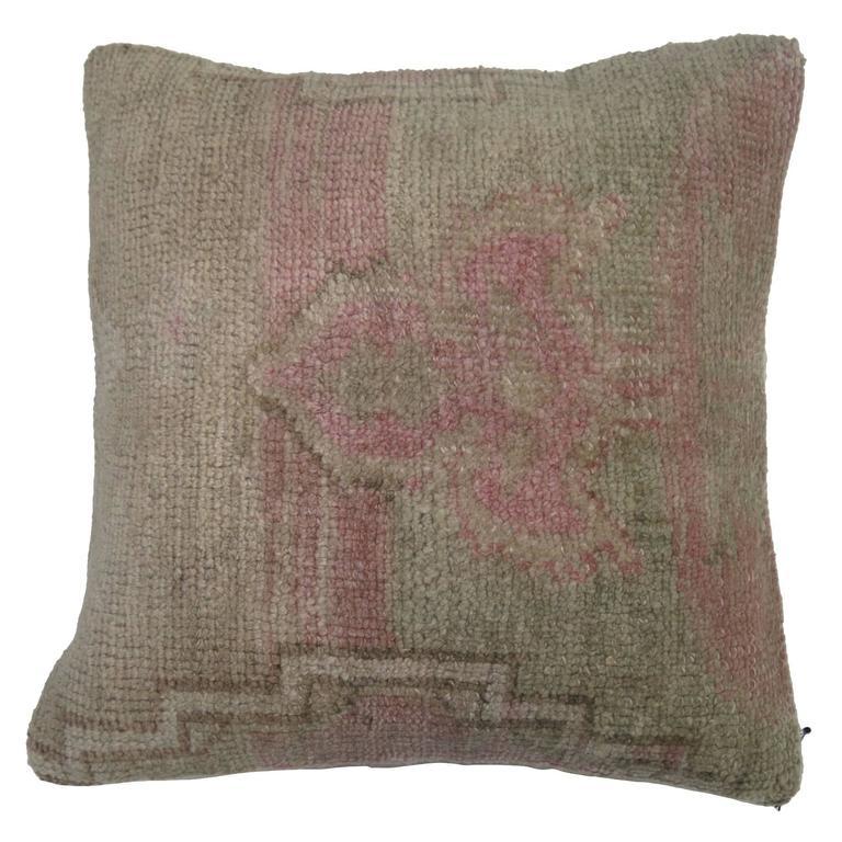Pink Oushak Rug Pillow At 1stdibs