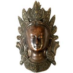 Tibetan Bronze Mask of Tara