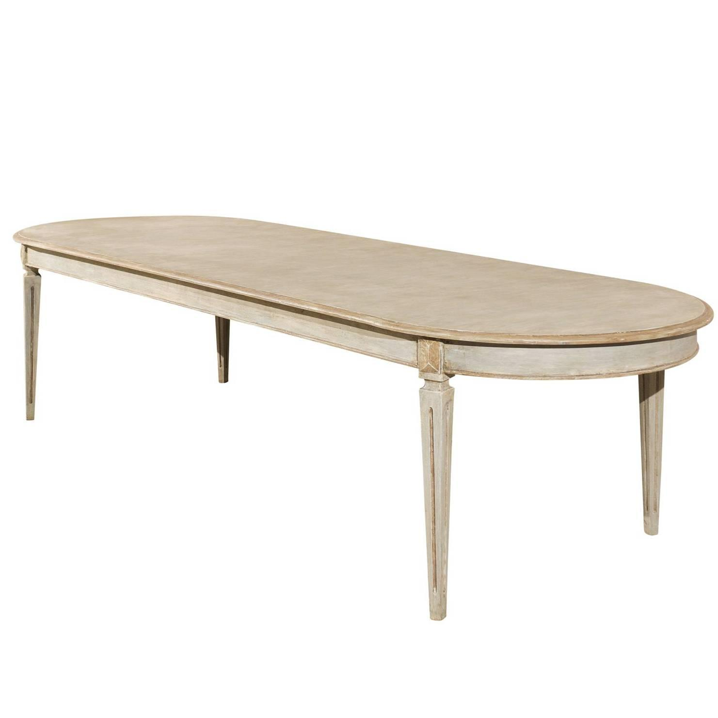 Swedish oval shaped gustavian style dining table at 1stdibs Oval dining table