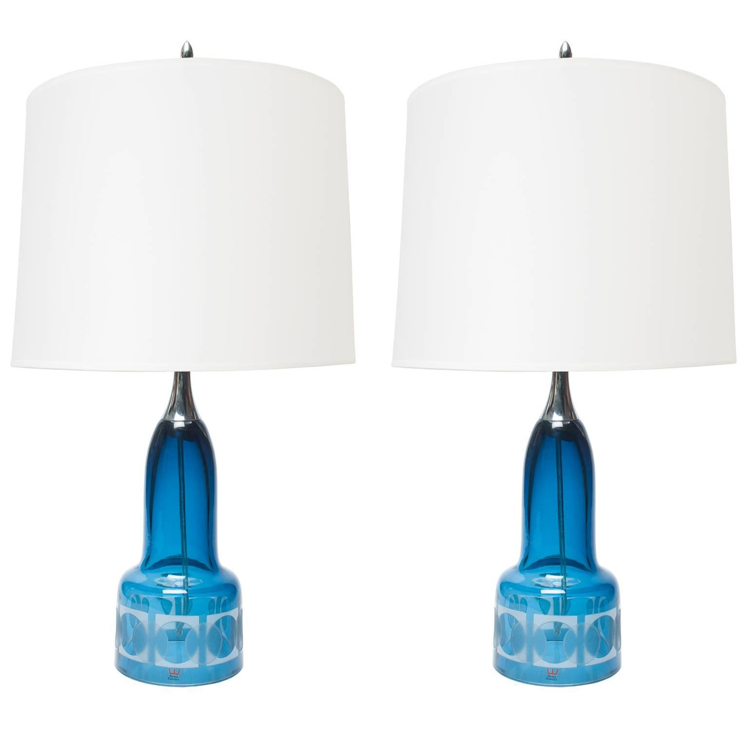 Pair of Scandinavian Modern Blue Etched Glass Lamps by Owe Sandeberg, Kosta