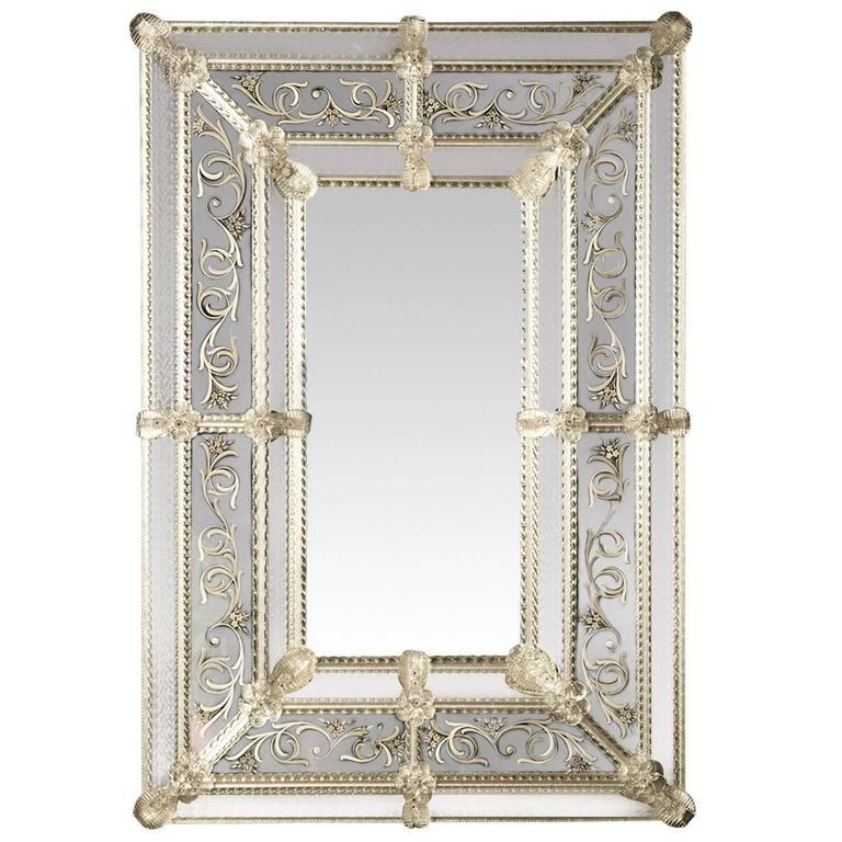 Inciso Venetian Murano Glass Mirror By Ongaro E Fuga At