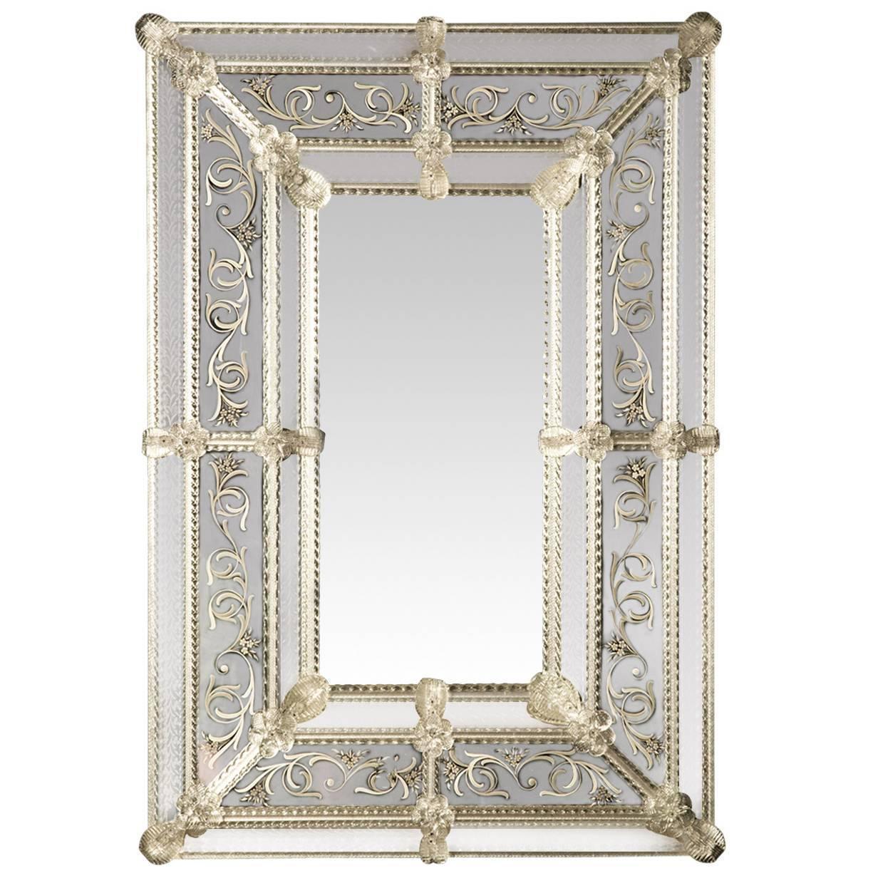 Inciso Venetian Murano Glass Mirror By Ongaro E Fuga For