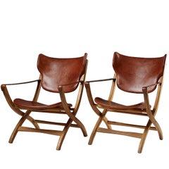 """Folding Armchair """"Egyptian Chair"""" Designed by Poul Hundevad, Denmark, 1950s"""
