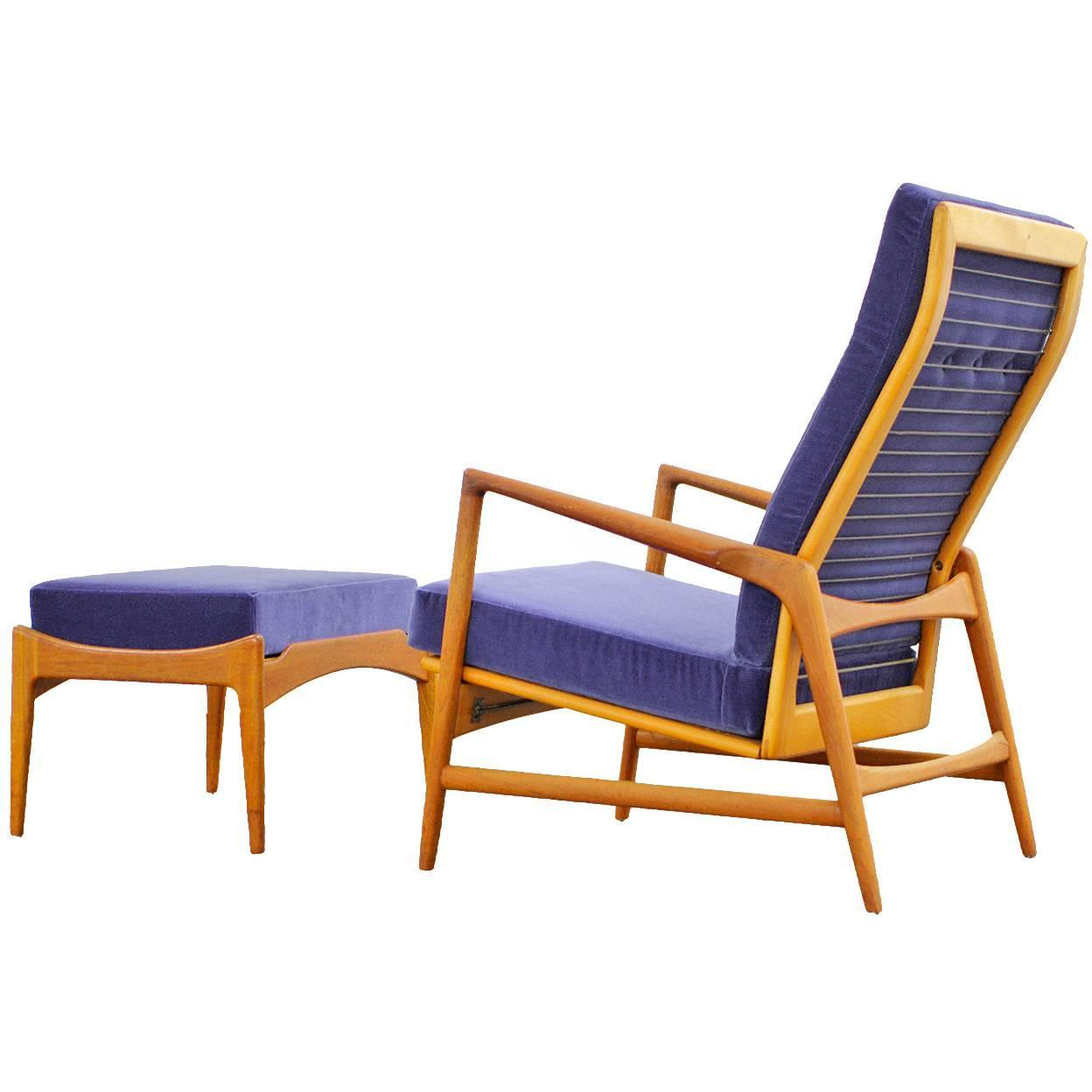 This sculptural pair of lounge chairs by ib kofod larsen is no longer - Danish Modern Reclining Lounge Chair And Ottoman By Ib Kofod Larsen Selig Teak For Sale At 1stdibs