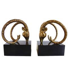 Ibex or Ram Head Brass Bookends After Chervet
