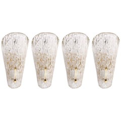 Four Kalmar Sconces, Textured Glass Brass, 1960