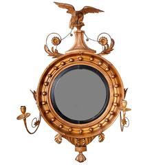 Late 19th Century Regency Giltwood Convex Mirror
