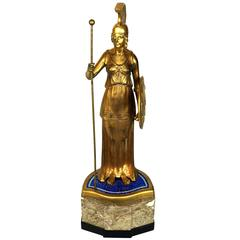 Gilt Bronze Standing Figure of a Warrior on Marble and Lapis Mosaic Base